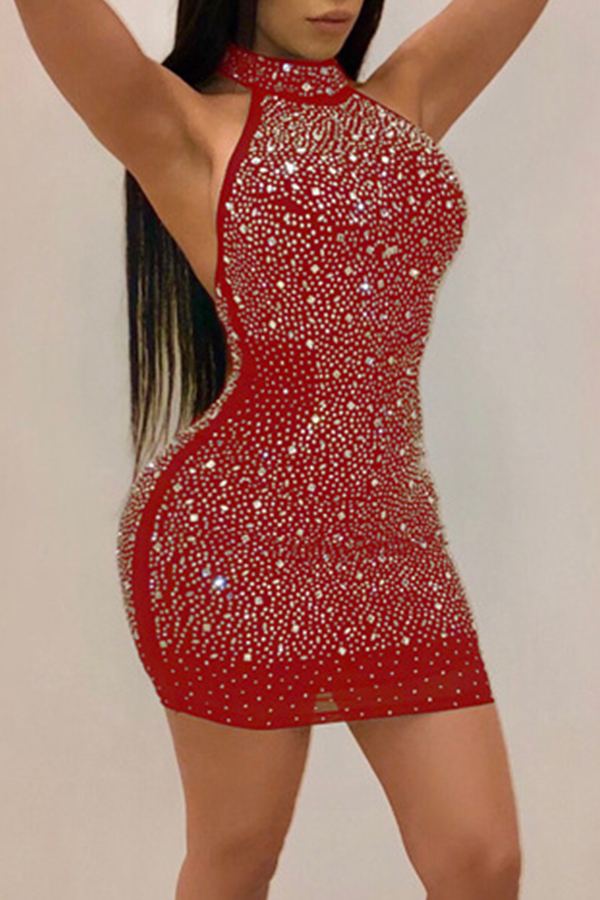 Lovely Sexy Backless Red Sheath Mini Dress