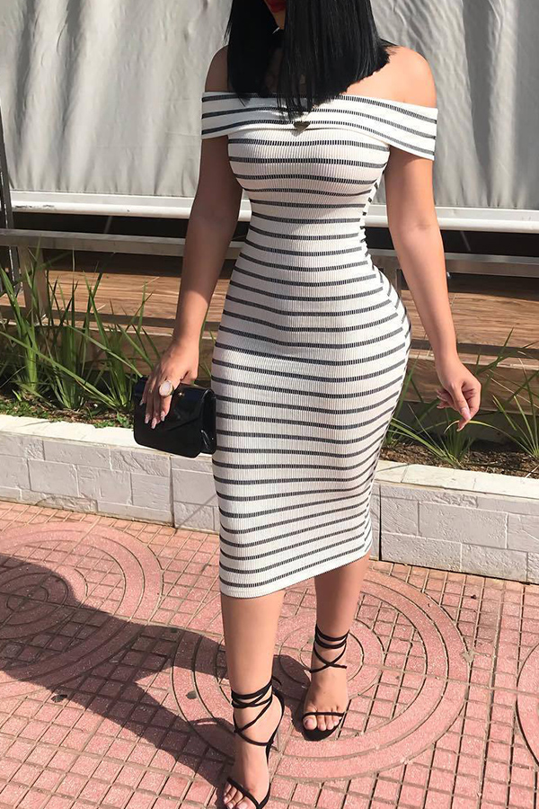 Lovely Casual Dew Shoulder Striped White Sheath Mid Calf Dress