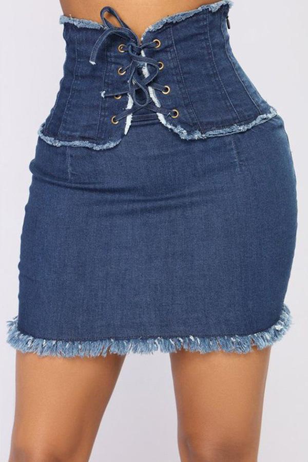 LovelyCasual Waisted  Blue Denim Mini Skirts