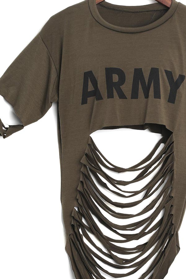 LovelySexy Printed Hollow-out Army Green Cotton Blends Shirts