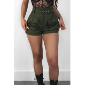Lovely Fashion High Waist Army Green Cotton Blends