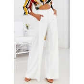 Lovely Trendy High Waist White Polyester Pants