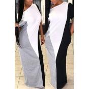 LovelyCasual Short Sleeves Patchwork Grey Cotton Blend Floor Length Dress