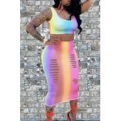 LovelySexy U Neck Broken Holes Printing Qmilch Two-piece Skirt Set