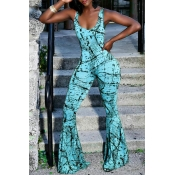 Lovely Street U Neck Printing Cyan Spandex One-piece Jumpsuits