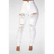 Lovely Trendy High Waist Broken Holes White Denim