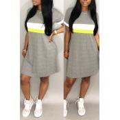 Lovely Fashion Round Neck Patchwork Light Grey Ble