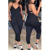 Lovely Fashion V Neck Pocket Design Black One-piece Jumpsuits