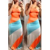 Lovely Fashion Bateau Neck Patchwork Orange Polyester Floor Length Dress