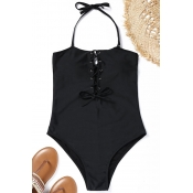 Lovely Sexy Lace-up Black Nylon One-piece Swimwear