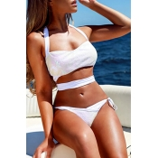 Lovely Chic Sequins Bandage White Two-piece Swimwe