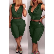 Lovely Casual V Neck Ruffle Design Army Green Twilled Satin Two-piece Shorts Set