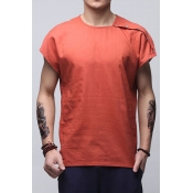 Lovely Casual Round Neck Buttons Brick Red Linen T