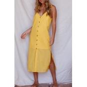 Lovely Casual V Neck Buttons Slit Hem Yellow Blend
