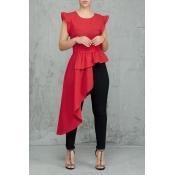 Lovely Trendy Asymmetrical Red Twilled Satin Shirt