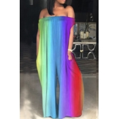LovelyCasual Bateau Neck Rainbow Printed Blue One-piece Jumpsuits