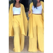 Lovely Casual Yellow Linen Two-piece Pants Set