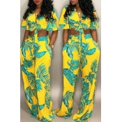 Lovely Euramerican Printed Yellow Two-piece Pants Set