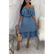 LovelyTrendy Falbala Design Blue Cotton Mid Calf D