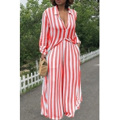 LovelyTrendy Striped Red Two-piece Pants Set