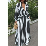 LovelyTrendy Striped Black Two-piece Pants Set