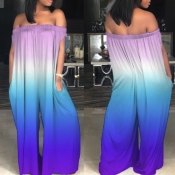 Lovely Casual Bateau Neck Rainbow Printed Purple One-piece Jumpsuit