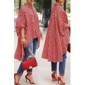 Lovely Casual Striped Asymmetrical Red Blending Bl
