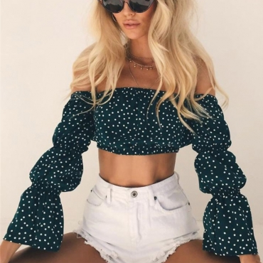 Lovely Sweet Bateau Neck Dot Printed Green Polyester Shirts