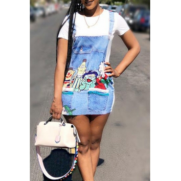 Lovely Casual Round Neck Patchwork Cartoon Printed White Twilled Satin Mini Dress