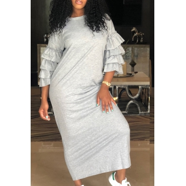 Lovely Polyester Casual Regular sleeve Three Quarter O Neck Mid Calf Straight Dresses
