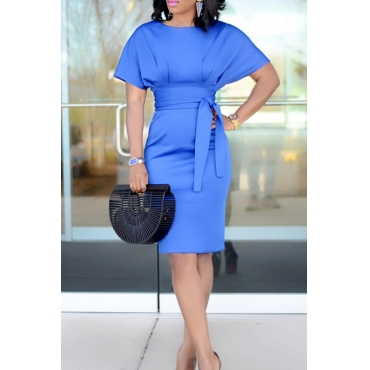 Lovely Polyester Work Regular sleeve Short Sleeve O Neck Knee Length Sheath Dresses