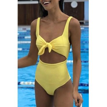 Lovely Yellow Spandex Skinny One-piece Swimwears