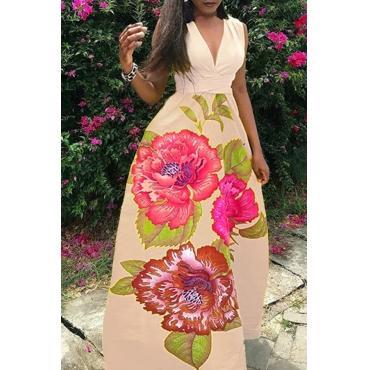 Lovely Bohemian V Neck Printed Khaki Polyester Floor Length Dress