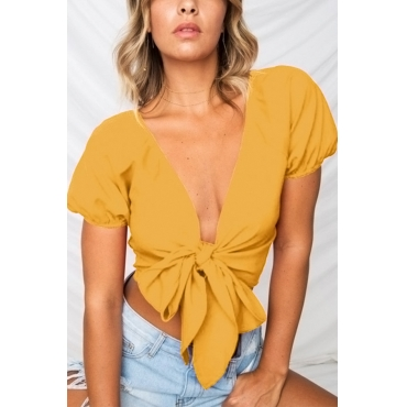 Lovely Casual V Neck Bandage Yellow Shirts