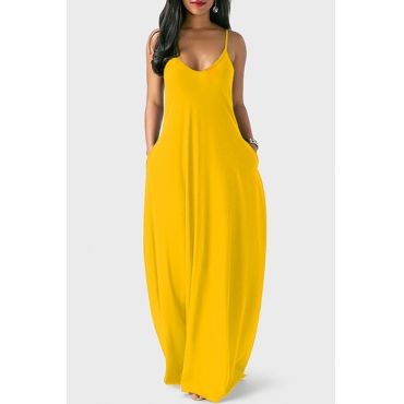 LovelyCasual V Neck Asymmetrical Yellow Blending Floor Length Dress