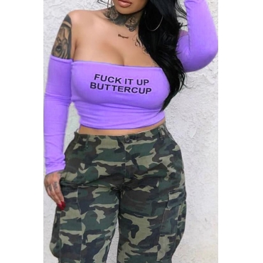 LovelyCasual Bateau Neck Long Sleeves Letter Printed Purple Qmilch T-shirt