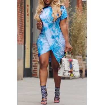 LovelyCasual Round Neck Printing Irregular Light Blue Polyester Mini Dress