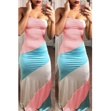 Lovely Fashion Bateau Neck Patchwork Pink Polyester Floor Length Dress