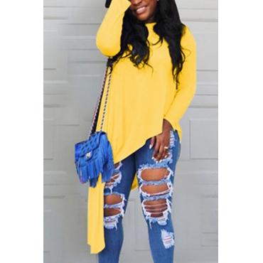 Lovely Casual Round Neck Irregular Hem Yellow Cotton T-shirt
