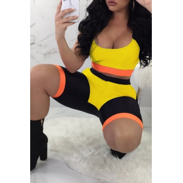 LovelyCasual U Neck Patchwork Yellow Two-piece Shorts Set
