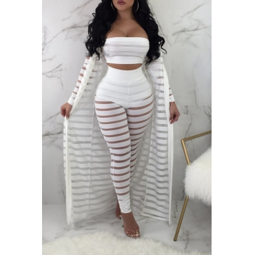 LovelySexy   Hollow-out White Three-piece Pants Set
