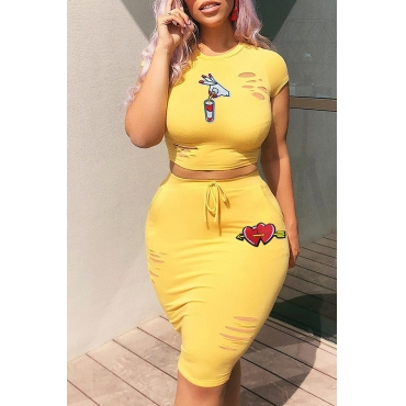 Lovely Casual  Printed Hollow-out Yellow Two-piece Skirt Set