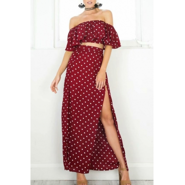 Lovely Euramerican Dew Shoulder Dots Printed Two-piece Skirt Set