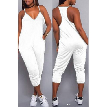 LovelyCasual V Neck White One-piece Jumpsuits