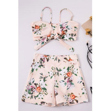Lovely Euramerican Printed Pink Two-piece Shorts Set