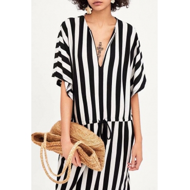 Lovely Casual V Neck Black-white Striped Cotton Mid Calf Dress