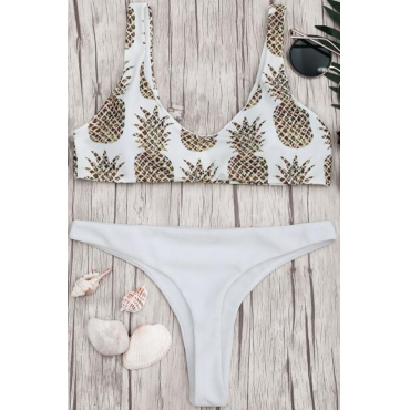 Lovely White Pineapple Printing Two-piece Swimwear