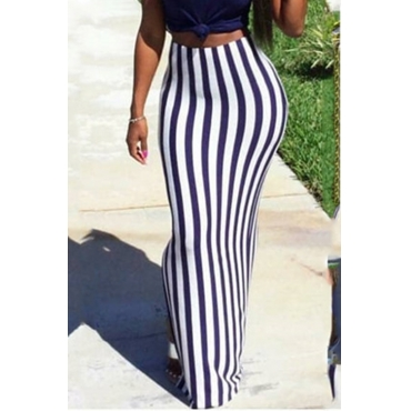LovelyCasual Striped Purple Floor Length Skirts