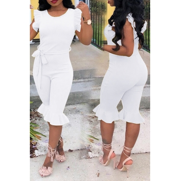 LovelyTrendy Round Neck Flounce White One-piece Romper