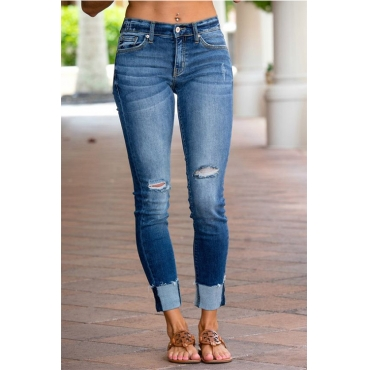 Lovely Denim Fashion Solid Mid Zipper Fly Jeans